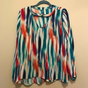 L Peppermint Brand Watercolor Long Sleeve Blouse